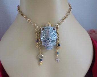 Tribal Skull bottle necklace