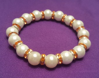 Beautiful White Pearl Stretch Bracelet with Tangerine Orange Crystal Spacers Throughout