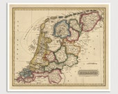 Old Netherlands Map Art Print 1817 Holland Antique Map Archival Reproduction