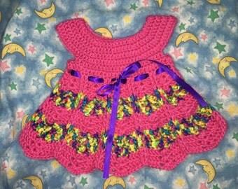 Crocheted Newborn Dress, Beanie, Slippers