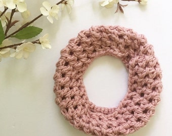 Girls Pink Scarf - Baby Scarf Knitted - Girl Cowl - Pink Toddler Scarf - Toddler Infinity Scarf - Child Pink Knit Scarf - Pink Crochet Scarf