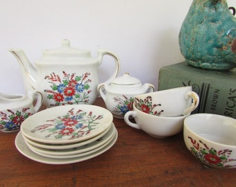 Toy Tea Set Vintage Doll Tea Party Miniature Flowered Teapot Plates and Cups