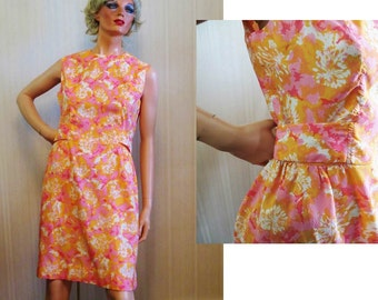 Vintage 60s Chemise Dress, Pink and Orange Mod Floral Print, Dacron Sleeveless Chemise, Metal Zipper, Flower Power Psychedelic