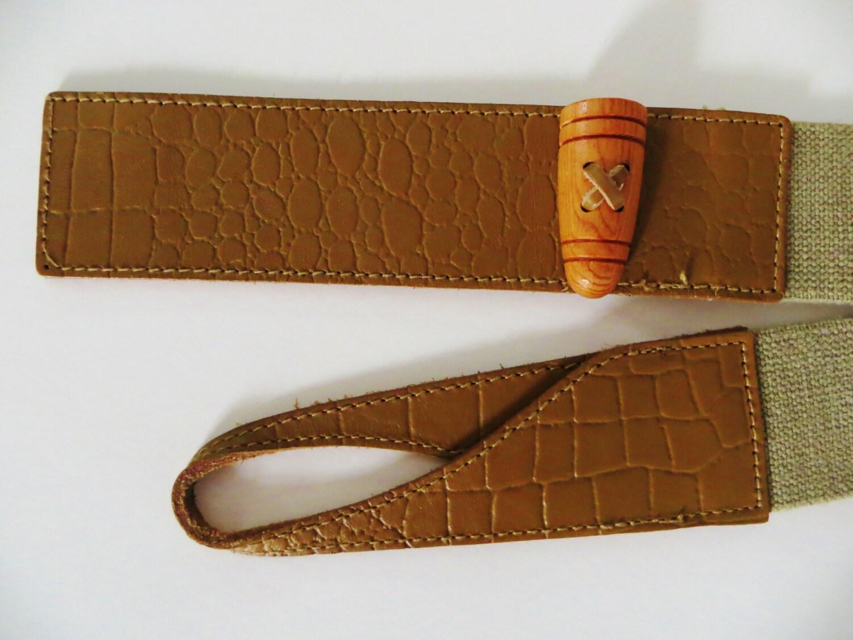vintage stretch belt olive green elastic cinch belt leather