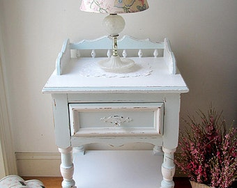 Sweet Aqua/White Vintage Nightstand