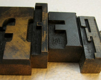 4 beautiful vintage letterpress wood type Fs. Fine old letters with great patina