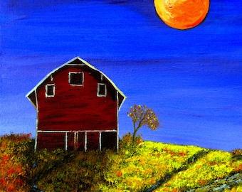 Harvest Moon, Oil Painting, One of a Kind, OOAK. Original Oil Painting, Oil on Canvas,
