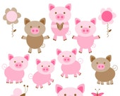 Pig Clipart - Instant Download