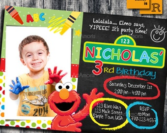 elmo invitation elmo birthday invitation art party invitation crayon sesame street - Elmo Birthday Party Invitations