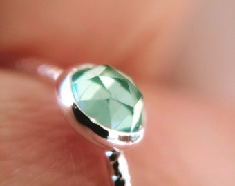 Quartz Ring, Seafoam Green, Erinite Quartz Ring, Faceted Quartz Ring, Mint Green, Quartz Jewlery, Engagement Ring, Gemstone Ring, Gift, Boho