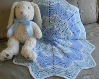 Crochet baby boy blue star shaped blanket