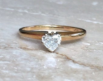Beautiful Rare 14k Diamond Heart Solitaire Ring, Adore .27 carats Sized between a 5.25 and a 5.5