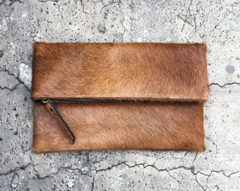 Brown Calf Hair Fold Over Zipper Pouch Leather Clutch