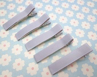 20 pcs girl hair clips --light gray satin hair clips