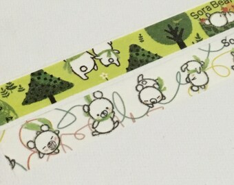2 Rolls of Shinzi Katoh Design Japanese Washi Masking Paper Tape (15mm x 10m) - Sora Bear