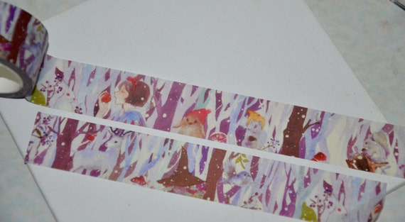1 Roll of Limited Edition Washi Tape: Snow white in the forrest