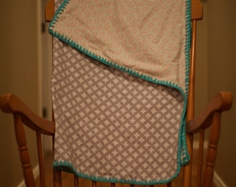 Grey Turquoise Blue and Red Flannel Blanket With Crochet Edge-Reversible