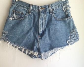 High Waisted Perry Ellis Jean Shorts Cutoffs Size 30