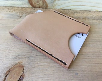 Front Pocket Card Wallet. Leather. Tan. Thin and Rugged. Man-Made in Texas