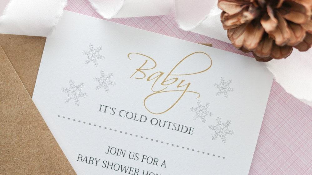 baby shower invitation gender neutral baby shower winter