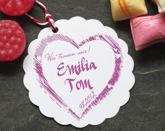 Stamp heart with name and date to the wedding