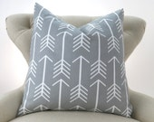 Gray Arrow Pillow Cover -MANY SIZES- Grey Throw Pillow, Euro Sham, Cushion Cover, Gray White Decor, Custom Premier Prints, FREESHIP