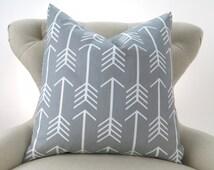 Gray Arrow Pillow Cover -MANY SIZES- Grey Throw Pillow, Euro Sham, Cushion Cover, Gray White Decor, Custom Premier Prints, FREESHIP