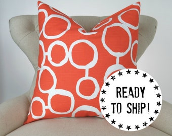 "Ready to ship! Tangerine Orange Pillow Cover for a 24x24"" pillow, Decorative Throw Pillow, Cushion Cover, Tangelo Freehand by Premier Prints"