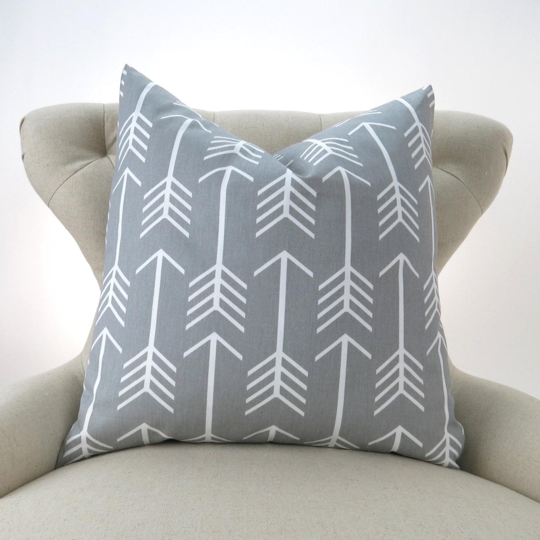 Gray Arrow Pillow Cover MANY SIZES Grey Throw Pillow Euro