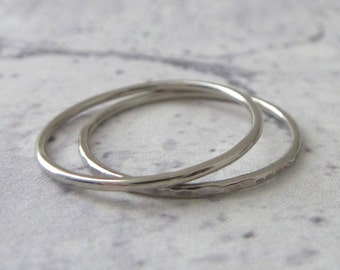 Thin Platinum Ring - Skinny Ring - Hammered or Smooth - Platinum Ring - Thin Ring