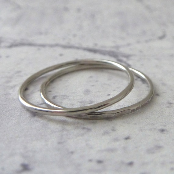 thin platinum ring ring hammered or smooth