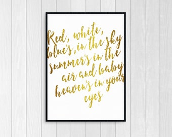 Lana Del Rey National Anthem Gold Foil Digital Print