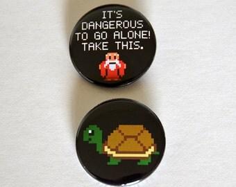 Turtle Pixel Button / It's Dangerous To Go Alone Button