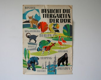 Original BERLIN Zoo GREAT CONDITION vintage Advertising Poster - Zoo design P123