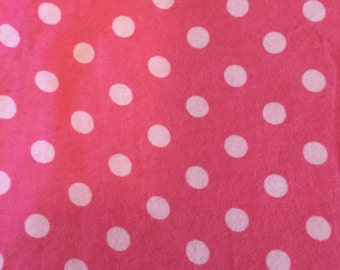 1 yd 34 in Pink Flannel w/Dots