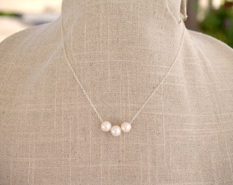 White Pearl Necklace - Sterling Silver Three White Pearls - Sterling or Gold Filled - Bridesmaid Necklace Gift - Freshwater Pearl Jewelry