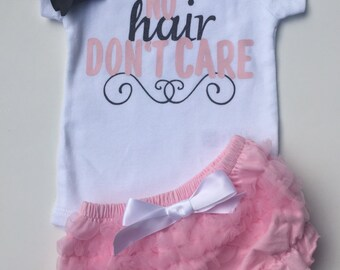 Baby Girls take home outfit- Baby Girls onesie (No hair Don't Care) -  ruffle bloomers with black bow-so  sweet.