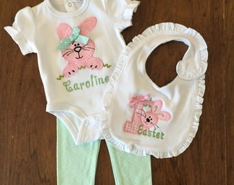 Easter Set-Newborn Girl Take Home Outfit- Baby Girls Bodysuit,  leggings- Personalized baby Easter Outfit- So sweet.