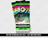 80's Ticket Invitations - 1980's Birthday Party - (Instant Download) Editable and Printable PDF Files - Retro Skate Dance Party