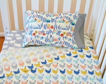 Organic Crib Sheet Set, Organic Toddler Sheet Set, Farmstead, Organic Crib Sheets, Organic Toddler Bedding, Farm Animals, Lambs, Chickens