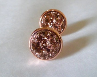 Rose gold  druzy stud earrings, druzy stud earrings, 12mm rose gold earrings, yellow gold studs.