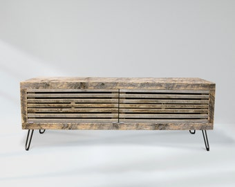 Reclaimed Wood Media Console, Slatted Media Cabinet