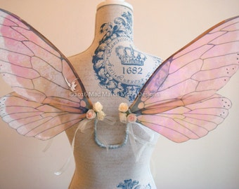 Vintage Rose Iridescent Fairy Wings, small size wearable fairy wings, poseable fairy costume wings