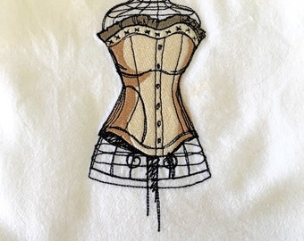 Embroidered Flour Sack Towel Victorian Steampunk Dress Form With Corset