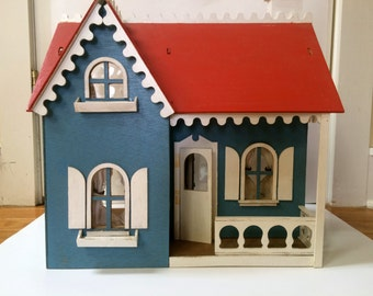 Vintage Gingerbread Hand Made Wooden Doll House Wood Dollhouse