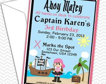 Pirate Girl Invitations PRINTABLE - Birthday Party - Baby Shower