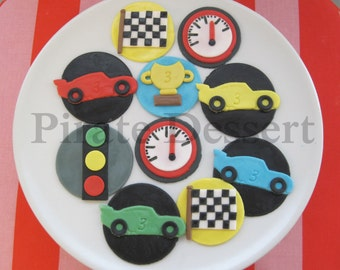 RACE DAY Party set Edible Cars themed cupcake toppers- Birthday cupcakes- NASCAR Cupcake toppers- winners circle Birthday party (12 pieces)