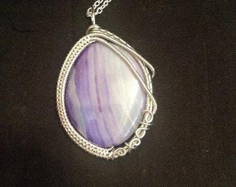 Wire Wrap Purple Striped Agate Necklace Pendant/ Wire Wrap Necklace/ Agate Pendant/ Wire Wrapped Necklace/ Wire Wrapped Jewelry
