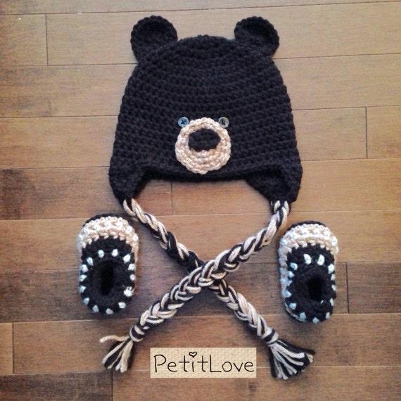 Crochet Baby Bear Booties Pattern : Baby Bear Crochet Hat & Booties