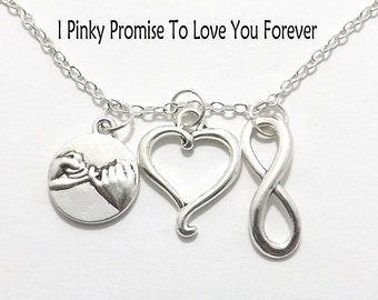 Forever Necklace, I Pinky Promise to Love You Forever Necklace, Infinity Necklace, Heart His Hers Couple Necklace, Boyfriend Girlfriend